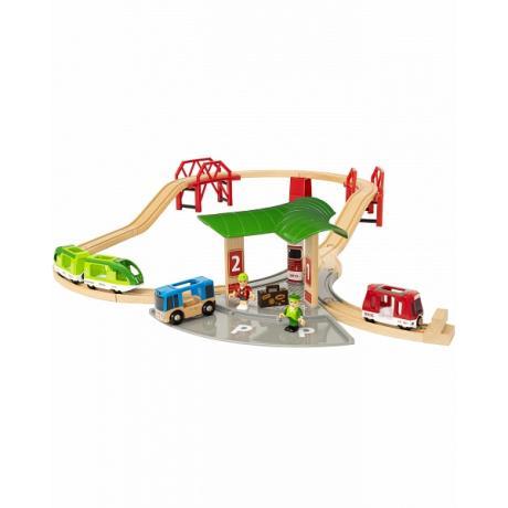 Деревянная железная дорога Brio с автовокзалом и мостами