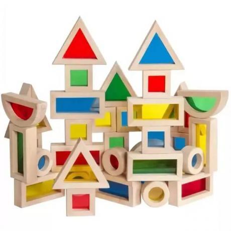 Деревянный конструктор GuideCraft Jr. Rainbow Blocks - Радужные блоки мини 40
