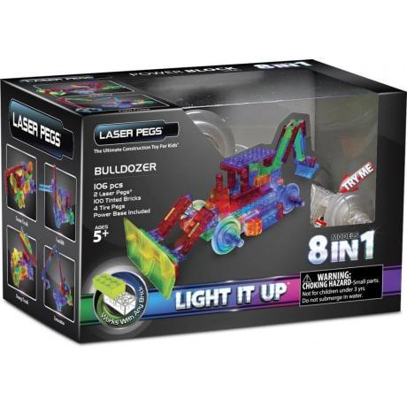 Светящийся конструктор Laser Pegs - Бульдозер 8 в 1