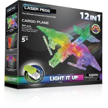 Светящийся конструктор Laser Pegs - Грузовой самолёт 12 в 1