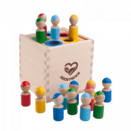 Счетный материал Леснушки - Разноцветные человечки в коробочке-сортере
