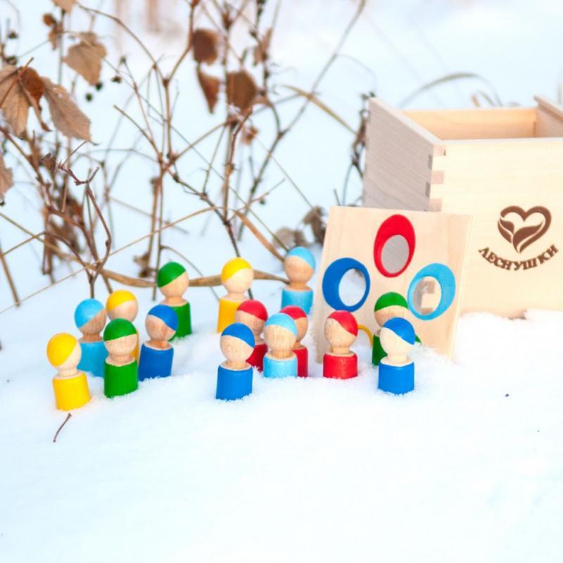 Счетный материал Леснушки - Разноцветные человечки в коробочке-сортере фото