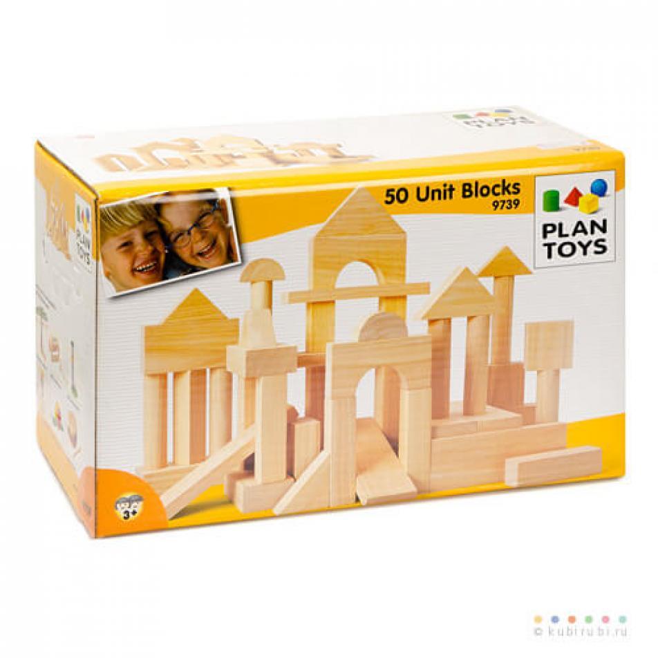 Деревянный конструктор Plan Toys 50 кубиков