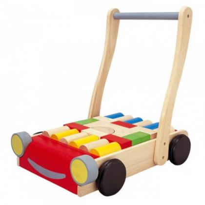 Деревянный конструктор Plan Toys Тележка с блоками