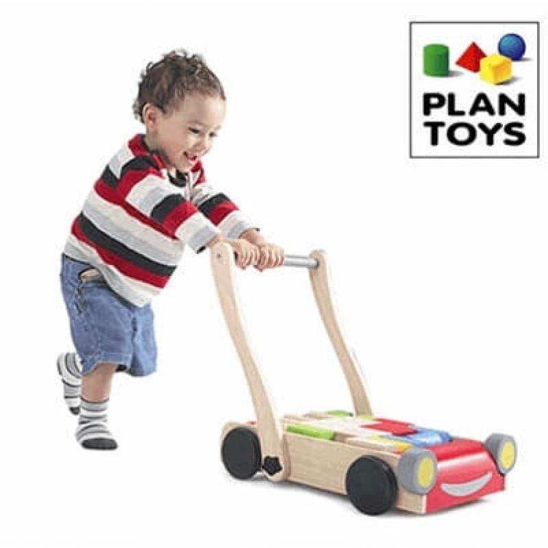 Деревянный конструктор Plan Toys Тележка с блоками фото