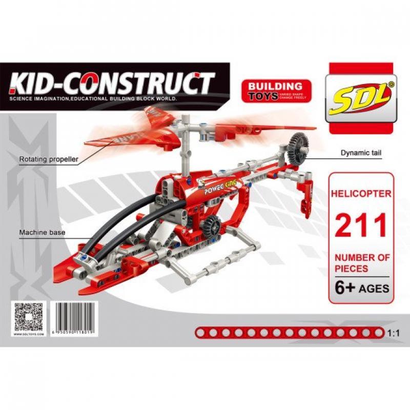 """Базовый 3D-Конструктор SDL KID-CONSTRUCT """"Вертолет, 211 деталей"""" фото"""