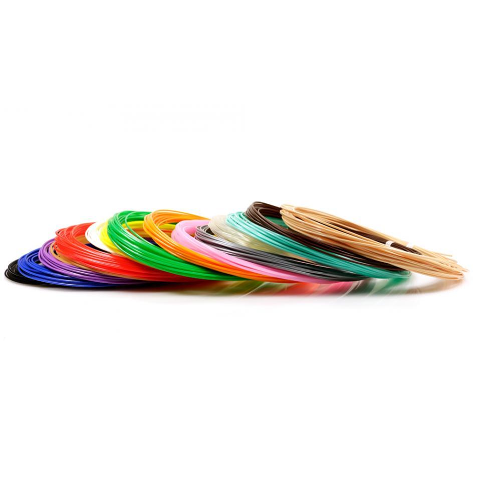 Пластик для 3D ручек PLA по 10 м. 15 цветов в коробке