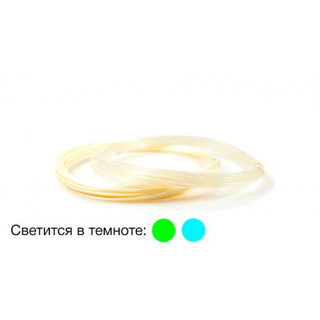 Пластик для 3D ручек PLA по 10 м. 2 цвета - светится в темноте