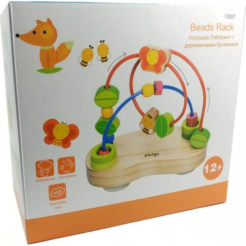 Логическая игрушка Vulpi Лабиринт с деревянными бусинами фото