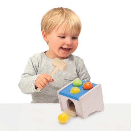 """Деревянная игрушка-стучалка с шарами """"Куб"""""""