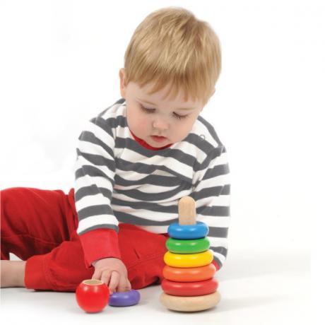 """Деревянная игрушка """"Пирамидка-неваляшка"""""""