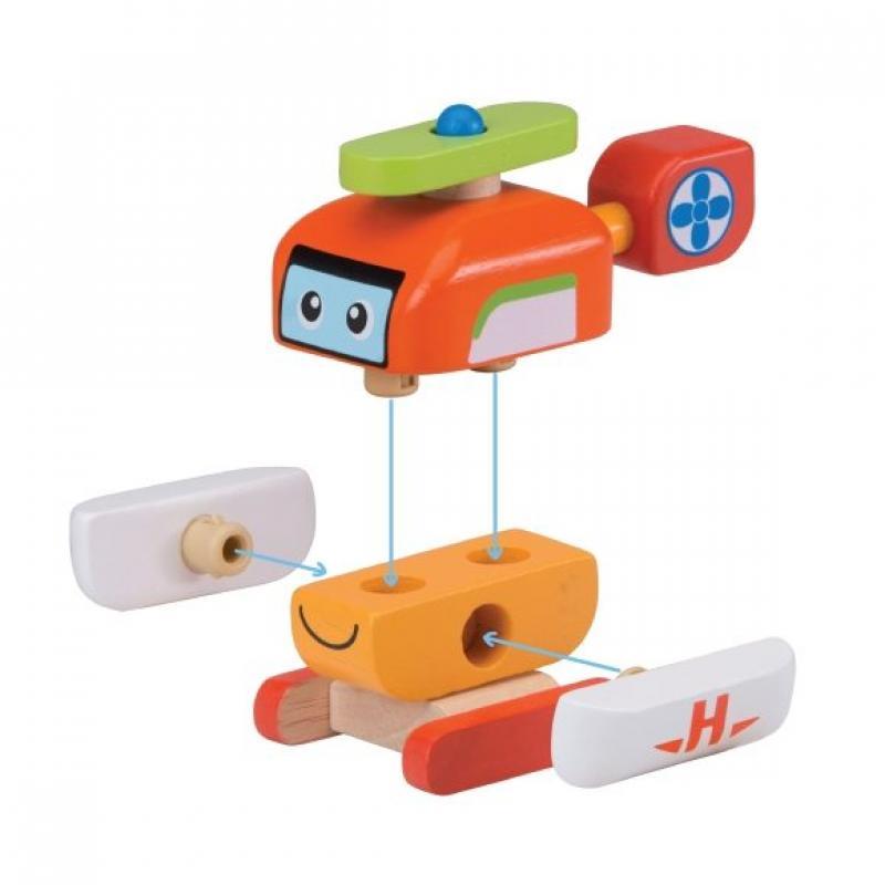 """Деревянная игрушка-конструктор """"Вертолет, Miniworld"""" фото"""