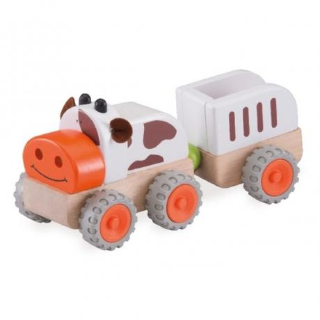 """Деревянная игрушка """"Трактор Му-Му с прицепом, Miniworld"""""""