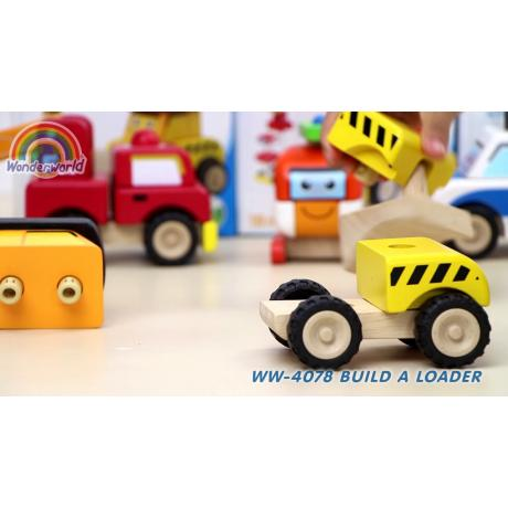 """Деревянная игрушка-конструктор """"Бульдозер, Miniworld"""""""