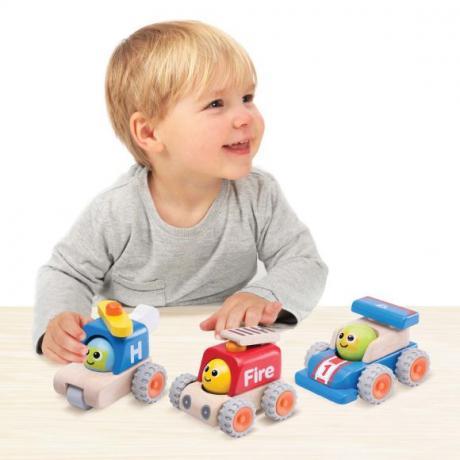 """Деревянная игрушка """"Гоночная машина с улыбкой, Miniworld"""""""