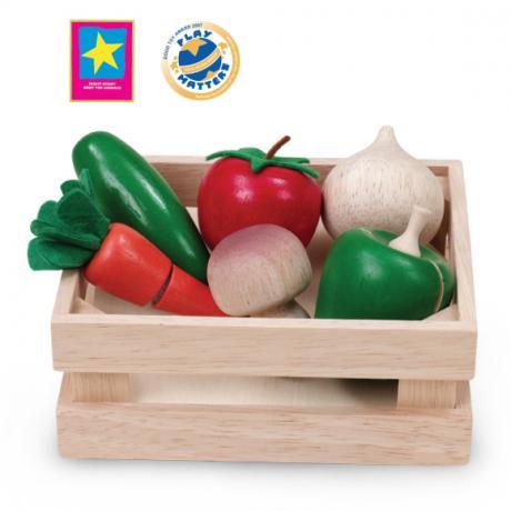 """Игровой набор """"Овощи и грибы для нарезки в ящике"""""""
