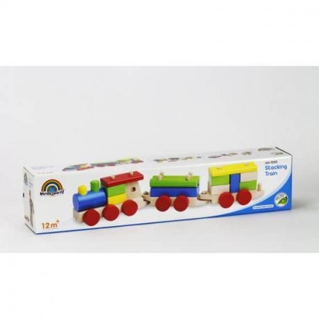 Деревянный конструктор-каталка Wonderworld Basic Learning - Поезд на веревочке