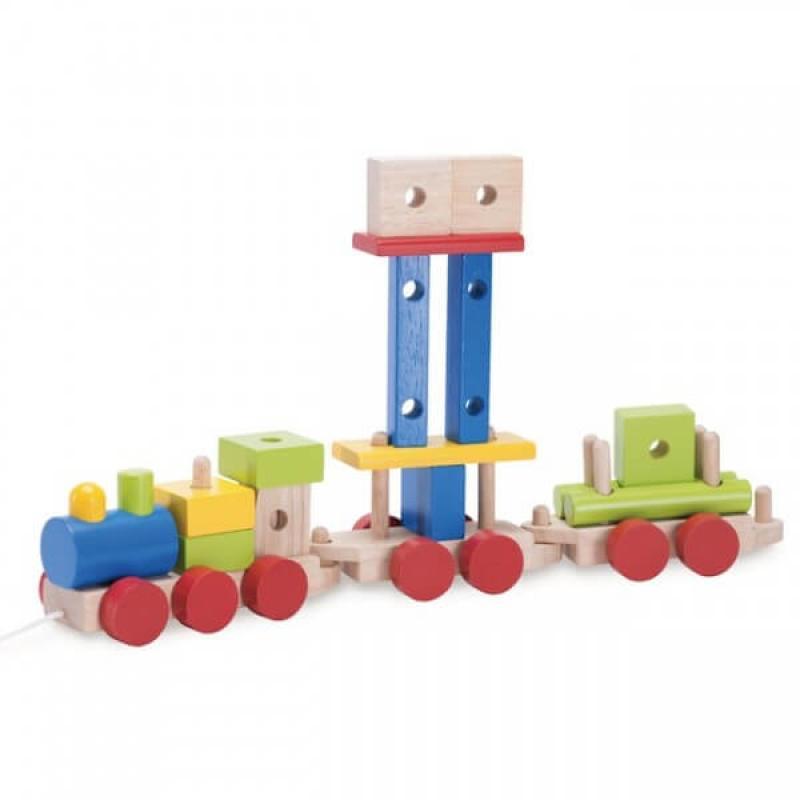Деревянный конструктор-каталка Wonderworld Basic Learning - Поезд на веревочке фото