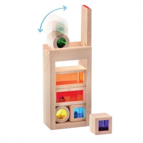 Радужные блоки со звуком Wonderworld Blocks - в деревянном контейнере