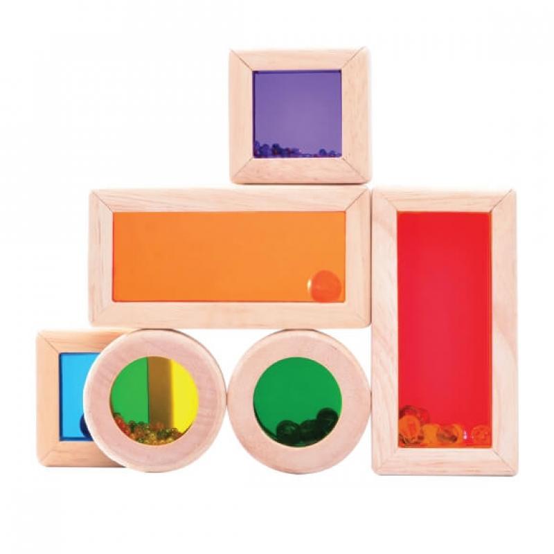 Радужные блоки со звуком Wonderworld Blocks - в деревянном контейнере фотографии