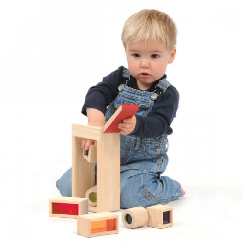 Радужные блоки со звуком Wonderworld Blocks - в деревянном контейнере фото