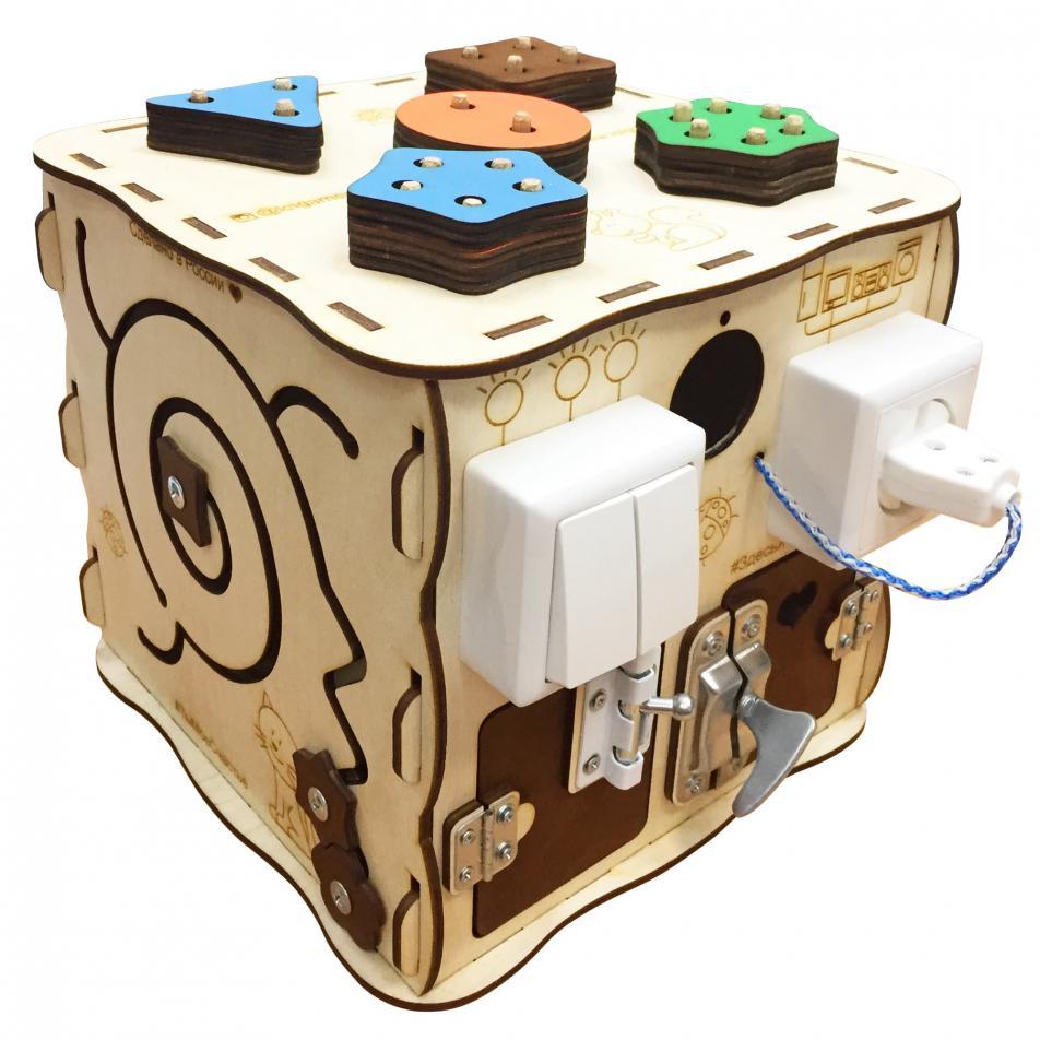 Развивающая игрушка БИЗИКУБ 25х25х25 см (5 бизибордов в 1)